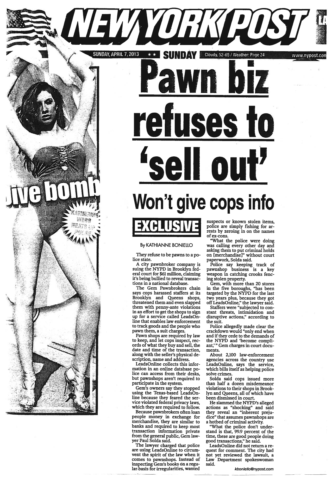Attorney Solda makes front page headlines in pushing forward pawnbroker case against NYPD…